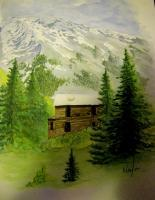 Mountain High - Watercolor Paintings - By Robert Nowlin, Graphic Illustration Painting Artist