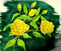 Yellowrose - Colored Pencil Water Color Paintings - By Robert Nowlin, Realism Painting Artist