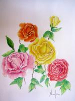 Flowers - Colored Roses - Colored Pencil