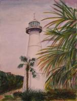 Biloxi Lighthouse - Watercolor Paintings - By Erika Kohutovic, Realism Painting Artist