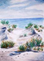 Landscapes - Floridas Beach - Oil Pastel