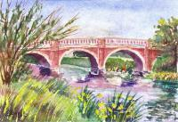 Landscapes - Bridge Across The River - Watercolor