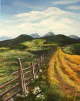 Landscapes - A Field Road - Acrylics