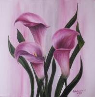 Pink Callas 1 - Acrylics Paintings - By Erika Kohutovic, Floral Painting Artist