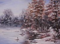 Landscapes - Winter Lake - Acrylics