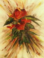 Floral - Red Anturias - Acrylics