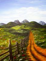 Landscapes - Field Road - Acrylics