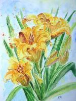 Floral - Yellow Lillies - Watercolor