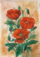 Floral - Poppies - Guache