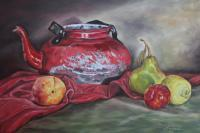 Still Life - Old Red Pot - Oil On Canvas