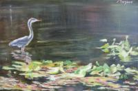 Animals - Egret In The Lake - Oil On Canvas