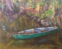Landscapes - Green Boat - Oil On Gesso Panel