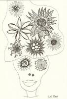 Faces - Turban Of Flowers - Ink