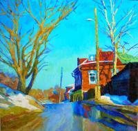 Landscape - Spring On Street - Oil On Canvas