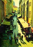 Drezden Shoping Street - Oil On Canvas Paintings - By Michail Rudnik, Realism Painting Artist