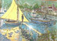 Boat Scen - Acrylic Photographed Paintings - By Adele Smith, Impressionist Painting Artist