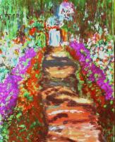 Garden At Giverny 3 - Acrylic Photographed Paintings - By Adele Smith, Impressionist Painting Artist