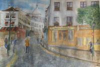 Watercolors - Rue Norvins Paris - Watercolor