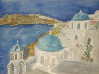 Watercolors - Santorin - Watercolor