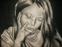Childhood Sorrow - Charcoal Drawings - By Ashley Warbritton, Realism Drawing Artist