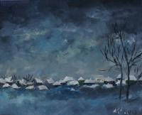 In The Dark - Covered With Snow In The Village - Oil On Canvas