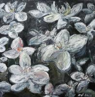 In The Dark - White Orchids In The Dark - Oil On Canvas