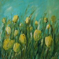 Nature - Yellow Tulips - Acrylic On Canvas