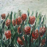 Nature - Red Tulips - Oil On Canvas