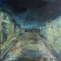 In The Dark - Old Town At Night - Oil On Canvas