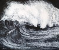 Sea Spray - Wax Pastel Drawings - By Luisfnogueira Nogueira, Realism Drawing Artist