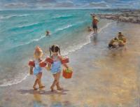 Playtime At The Beach - Pastel Paintings - By Tom Jackson, Realism Painting Artist