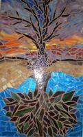 Reflection Of A Tree - Mosaic Mixed Media - By Marilyn Schreiber, Abstract Mixed Media Artist
