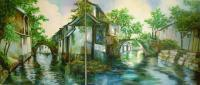 Village Canals - Oil On Canvas Paintings - By Min W, Impressionism Painting Artist