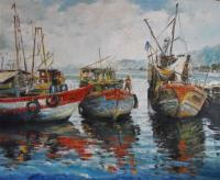 Preparing For Sea - Oil On Canvas - Oil On Canvas Paintings - By Min W, Impressionism Painting Artist