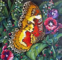 Butterfly Series 2A - Oil On Canvas Paintings - By Min W, Wild Life  Nature Painting Artist