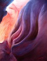 Macro-Landscapes - Composition In Purple And Orange - Oil