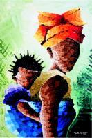 Acrylic Paintings - Iya Ni Wura - Mother  Child - Acrylic