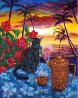 Kona Kat - Acrylic On Canvas Paintings - By Laura Milnor Iverson, Impressionist Painting Artist