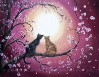 Zen Cats - A Shared Moment - Oil On Canvas