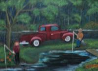Gone Fishing - Oil On Canvas Paintings - By Joanne Knox, Originals Painting Artist