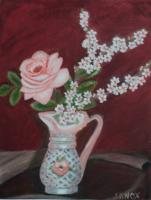 Rose And Apricot Blossoms - Oil On Canvas Paintings - By Joanne Knox, Originals Painting Artist