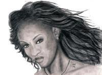 Tyra Banks - Hand Drawn Drawings - By Ronald Hornbeck, Pencil Drawing Artist
