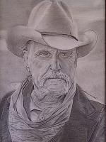 Lonesome Dove Robert Duvall - Pencil  Paper Drawings - By Mike Guerrero, Black And White Drawing Artist