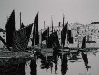 Whitby Harbour  1800S - Penink Drawings - By Andy Davis, Realism Drawing Artist