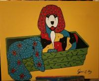 Puppies At Rest - Acrylic Paintings - By Jerri Gray, Flip Art With Bold Colors Painting Artist