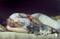 Catnap - Oil Paintings - By Anet Du Toit, Realistic Painting Artist