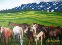 Horses In Yellow Stone Montana - Oil On Canvas Paintings - By Qiufen Wei - Marmo, Realism Painting Artist
