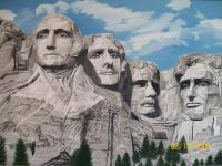 Mount Rushmore - South Dakota - Oil On Canvas Paintings - By Qiufen Wei - Marmo, Realism Painting Artist