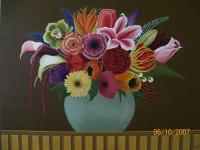 Flowers - Oil On Canvas Paintings - By Qiufen Wei - Marmo, Realism Painting Artist