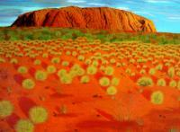 Desert Rock Nature - Uluru Australia - Acrylic On Canvas